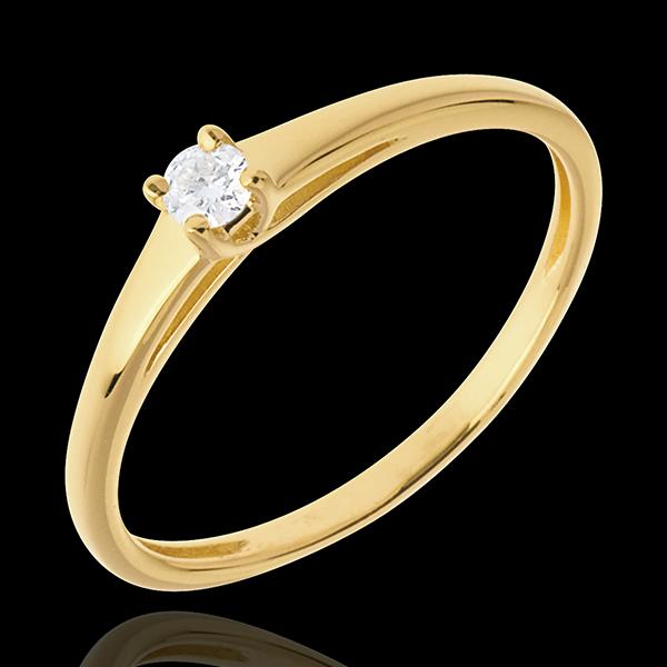 Podstawowa wersja pierścionka z jednym diamentem z 18-karatowego złota żółtego - 0,08 karata
