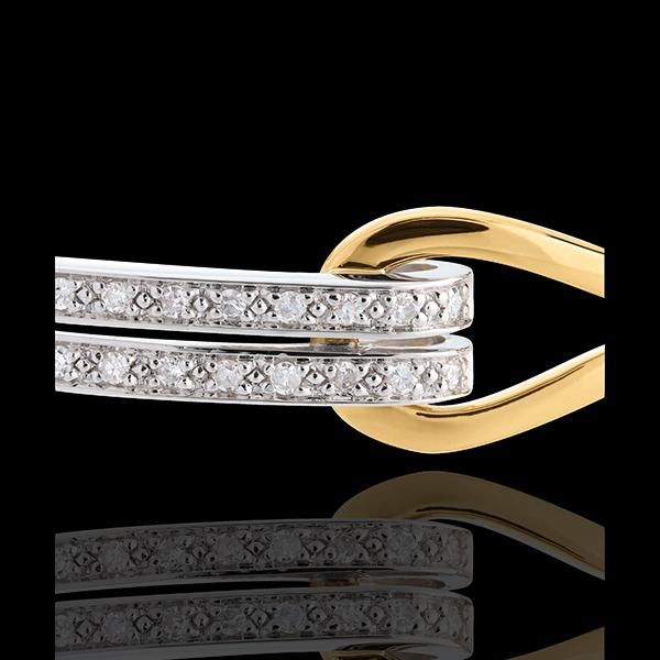 Podwójne koło Klamra wysadzane diamentami - 54 diamenty 0,32 karata - złoto białe i złoto żółte 18-karatowe
