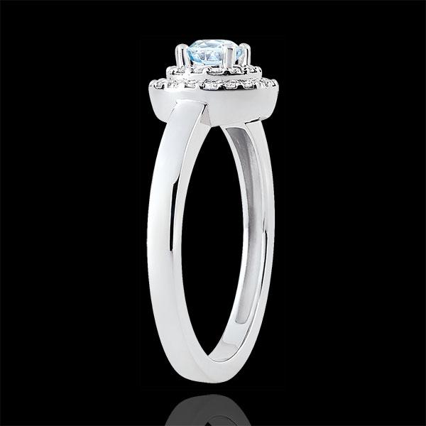 Podwójny pierścionek Przeznaczenie zaręczynowy Halo - akwamaryn 0,23 karata i diamenty - złoto białe 18-karatowe
