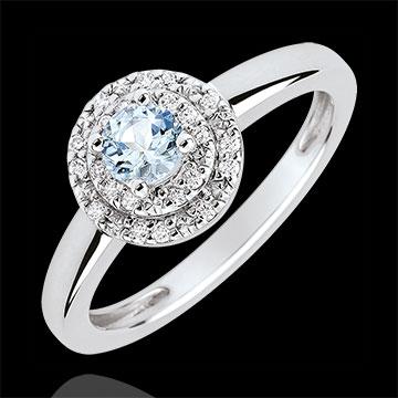 Podwójny pierścionek zaręczynowy Halo - akwamaryn 0,23 karata i diamenty - złoto białe 18-karatowe