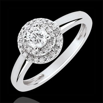 Podwójny pierścionek zaręczynowy Halo - diament 0,25 karata - złoto białe 18-karatowe