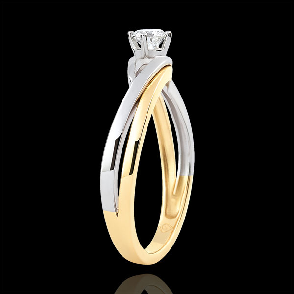 Precious Nest Solitaire - Dova - 0.15 carat diamond - white and yellow gold 18 carats