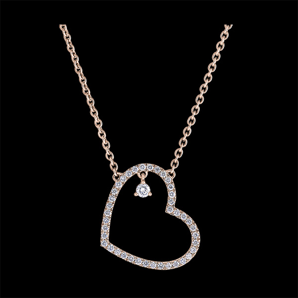 Precious Secret Necklace - Leaning Heart - pink gold 9 carats and diamonds