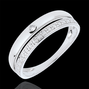 Pretty Wedding Ring - White gold - 9 carats