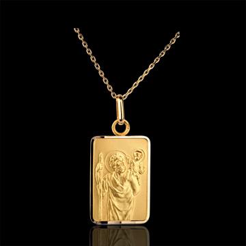 Prostokątny medalik z św. Krzysztofem - złoto żółte 18-karatowe