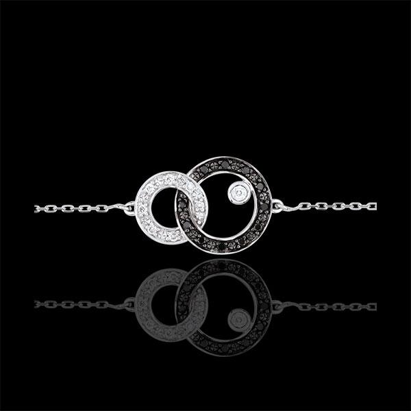Pulsera Claroscuro - Dúo de Lunas - oro blanco 9 quilates - diamantes negros y blancos