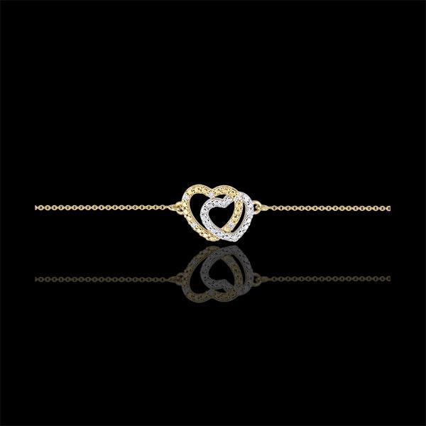 Pulsera Corazones Cómplices - oro amarillo y oro blanco 9 quilates y diamantes