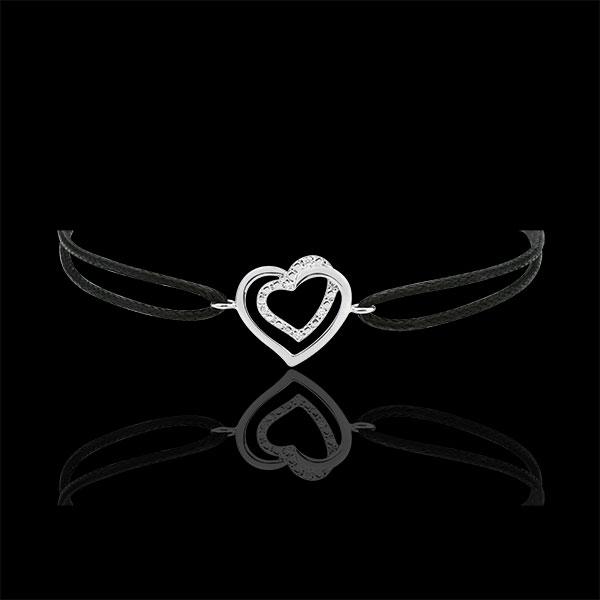 Pulsera Corazones Enlazados oro blanco 9 quilates y Diamantes - Cordón Negro