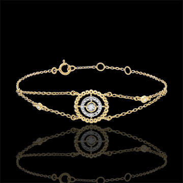Pulsera Flor de Sal - círculo - oro amarillo 9 quilates y diamantes