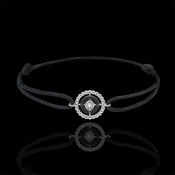 Pulsera Flor de Sal - círculo - oro blanco 9 quilates y diamantes negros - cordón negro