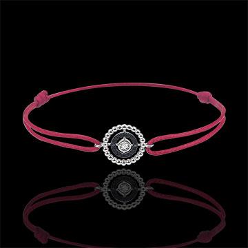 Pulsera Flor de Sal - círculo - oro blanco 9 quilates y diamantes negros - cordón rojo