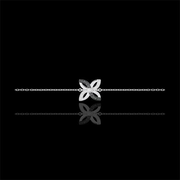 Pulsera Frescura - Lirio de Verano - oro blanco 9 quilates y diamantes negros