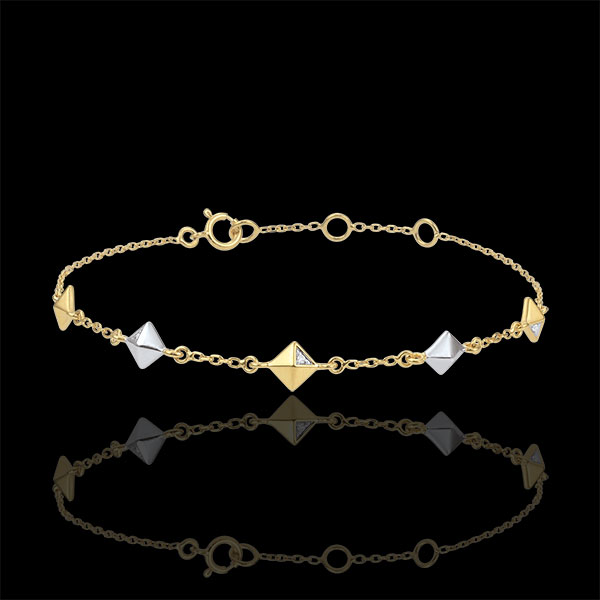 Pulsera Génesis - Diamantes Brutos - 2 oros - 5 motivos - oro blanco y oro amarillo 9 quilates