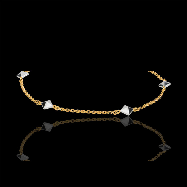 Pulsera Génesis - Diamantes Brutos bicolor - oro blanco 18 quilates