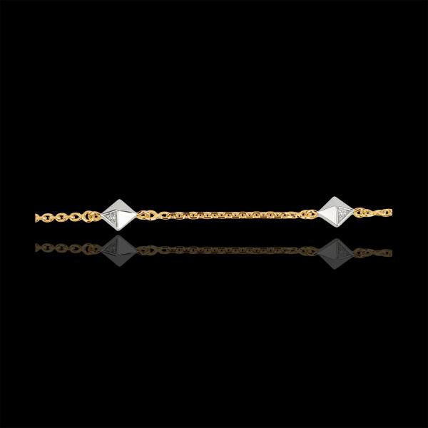 Pulsera Génesis - Diamantes Brutos bicolor - oro blanco 9 quilates