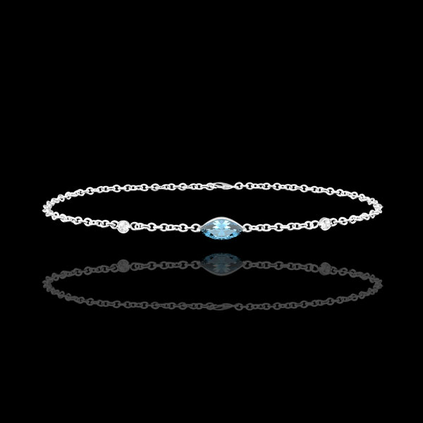 Pulsera Mirada de Oriente - Topacio azul y diamantes - oro blanco 9 quilates