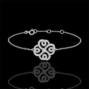 Pulsera Solitario Destino - Trébol Arabesco - oro blanco 9 quilates y diamantes