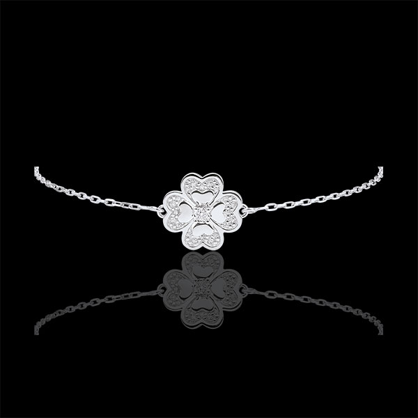 Pulsera Solitario Eclosión - Trébol Deslumbrante - oro blanco 9 quilates y diamantes