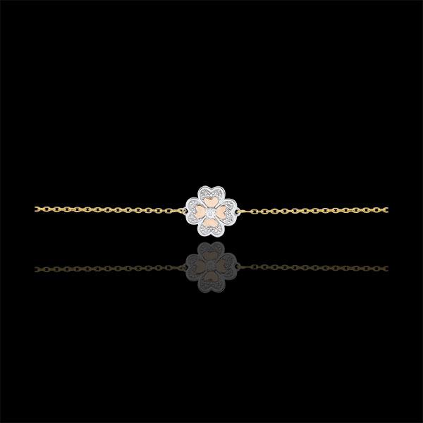 Pulsera Solitario Frescura - Trébol Deslumbrante - 3 oros 9 quilates y diamantes