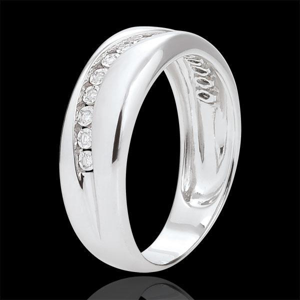 Ring Amour - Diamantenschwarm - Weißgold - 18 Karat