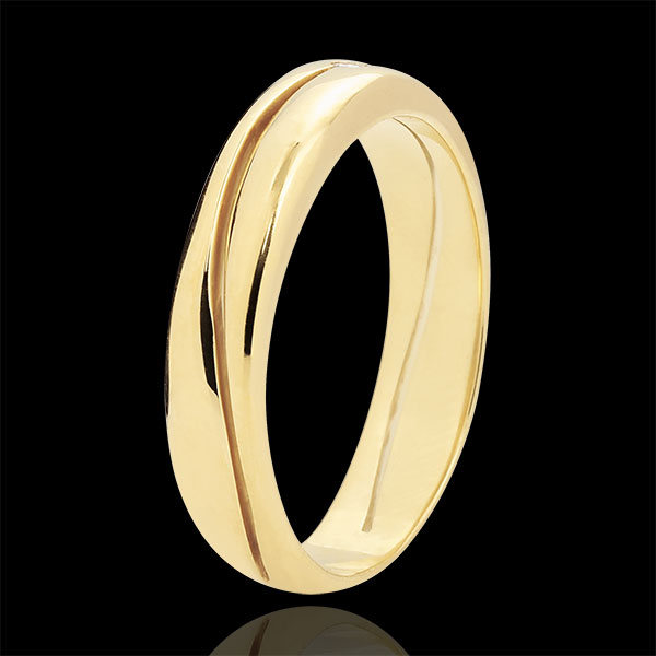 Ring Amour - Herren Trauring in Gelbgold - Diamant 0.022 Karat - 18 Karat