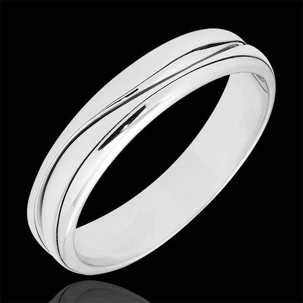Ring Amour - Herren Trauring in Weißgold - 18 Karat