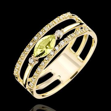 Ring Auge des Orients - Großes Modell - Peridot und Diamanten - 9 Karat Gelbgold