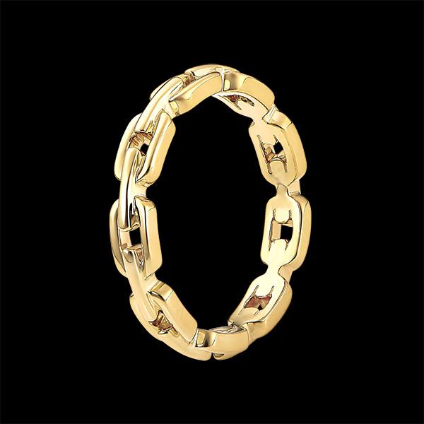Ring Auge des Orients - Kubanische Kettenglieder dünn - 18 Karat Gelbgold