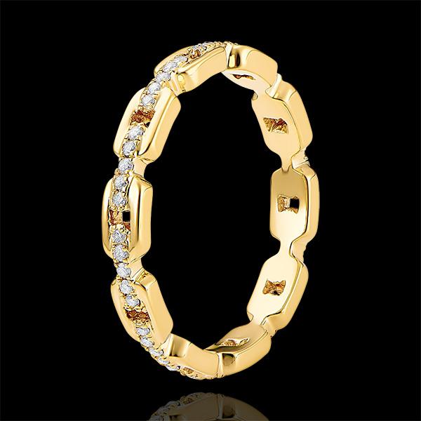 Ring Auge des Orients - Kubanische Kettenglieder mit Diamanten - 9 Karat Gelbgold und Diamanten