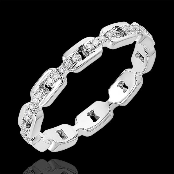 Ring Auge des Orients - Kubanische Kettenglieder mit Diamanten - 9 Karat Weißgold und Diamanten
