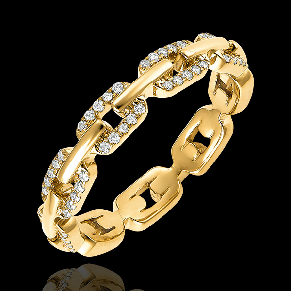 Ring Auge des Orients - Kubanische Kettenglieder mit Diamanten Variation - 18 Karat Gelbgold und Diamanten