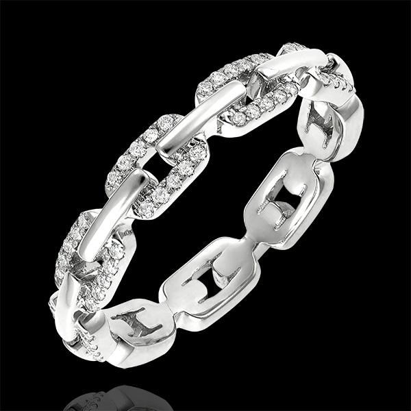 Ring Auge des Orients - Kubanische Kettenglieder mit Diamanten Variation - 18 Karat Weißgold und Diamanten