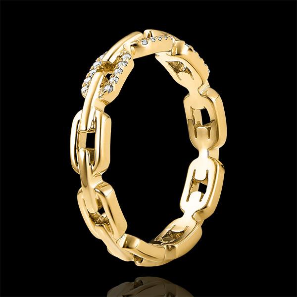 Ring Auge des Orients - Kubanische Kettenglieder mit Diamanten Variation - 9 Karat Gelbgold und Diamanten