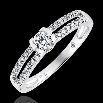 Ring Betovering - Nobele verloving - 9 karaat witgoud met Diamanten
