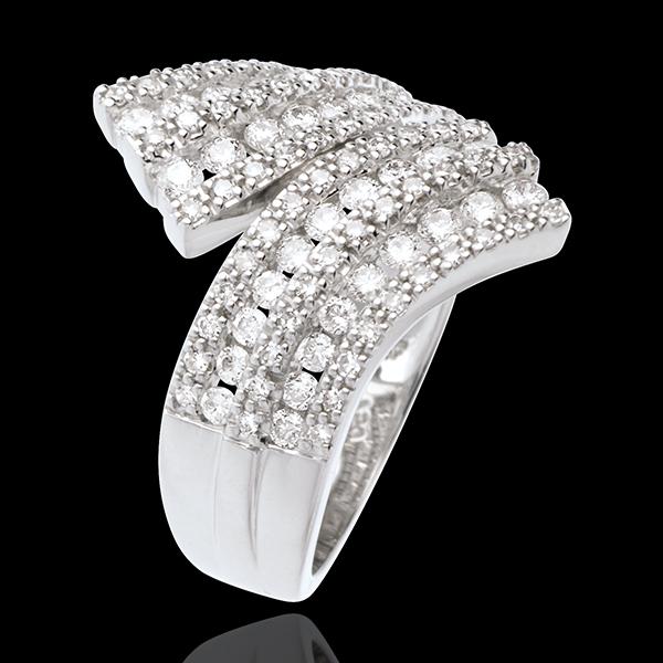 Ring Betovering - Sjaal bezet - 1.1 karaat - 108 Diamanten - 18 karaat witgoud