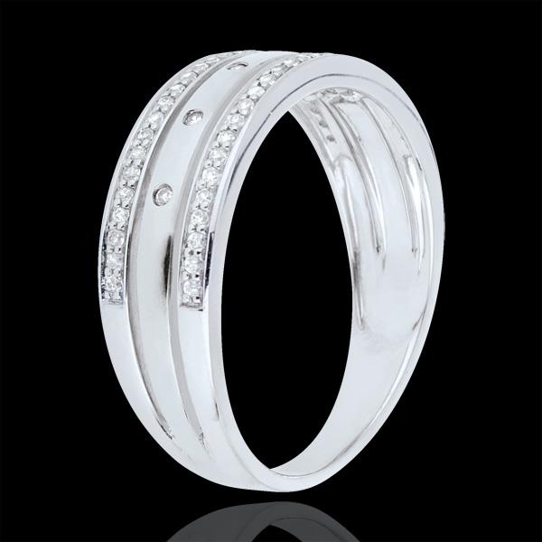 Ring Betovering - Sterrenkroon - groot model - 18 karaat witgoud, Diamanten