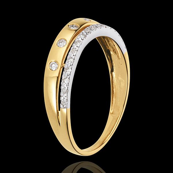 Ring Betovering - Sterrenkroon - klein model - 18 karaat geelgoud en witgoud