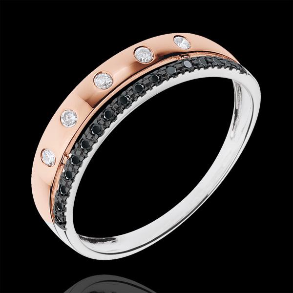 Ring Betovering - Sterrenkroon - klein model - 18 karaat witgoug en rozégoud - zwarte en witte Diamanten