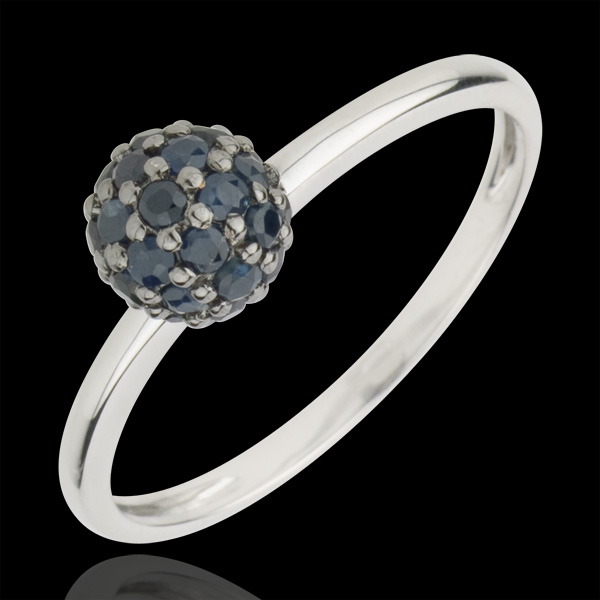 Ring Bird of Paradise - ball - white gold and blue sapphire