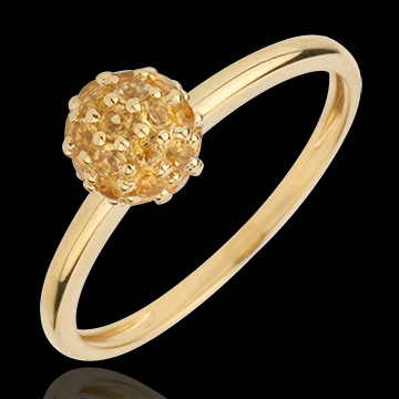 Ring Bird of Paradise - ball - yellow gold and yellow citrine