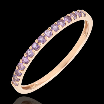 Ring Bird of Paradise - one line - rose gold and amethyst