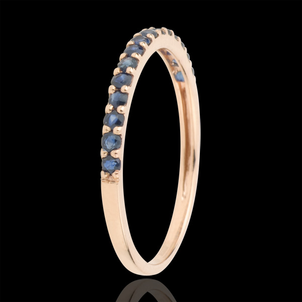 Ring Bird of Paradise - one line - rose gold and blue sapphire