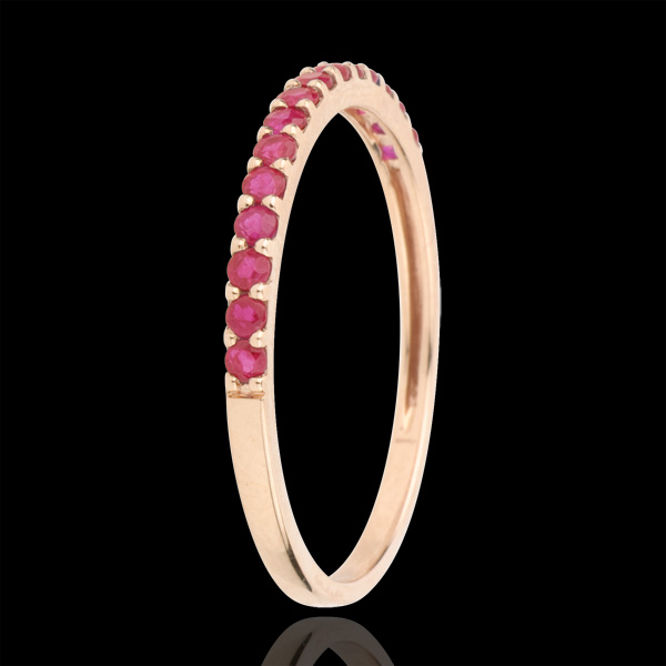 Ring Bird of Paradise - one line - rose gold and ruby