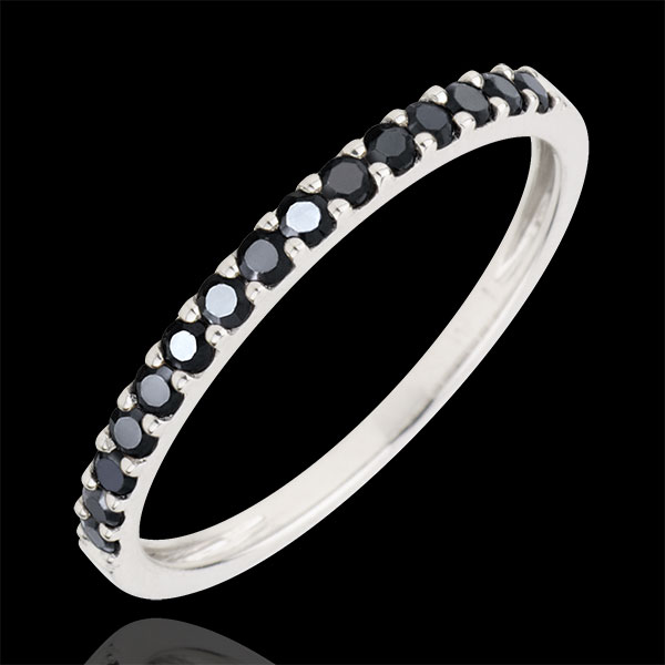 Ring Bird of Paradise - one line - white gold and black diamonds