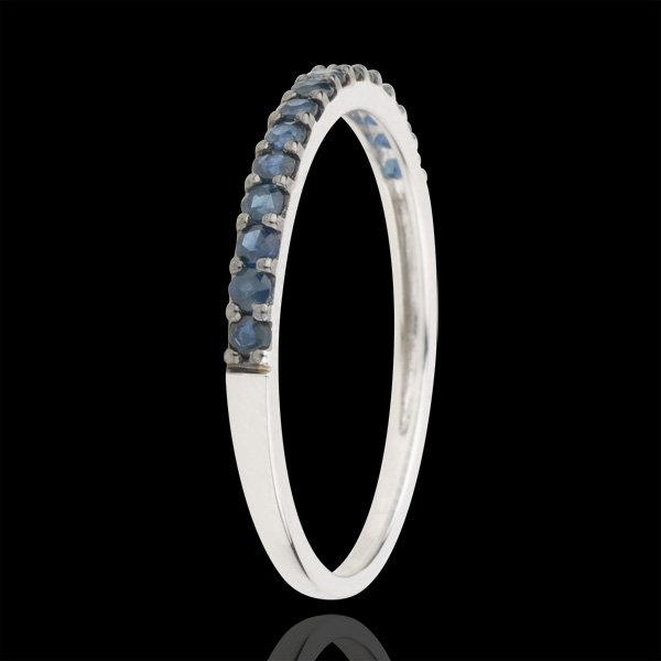 Ring Bird of Paradise - one line - white gold and blue sapphire