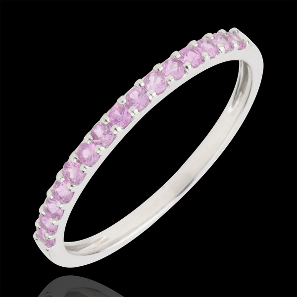 Ring Bird of Paradise - one line - white gold and pink sapphire