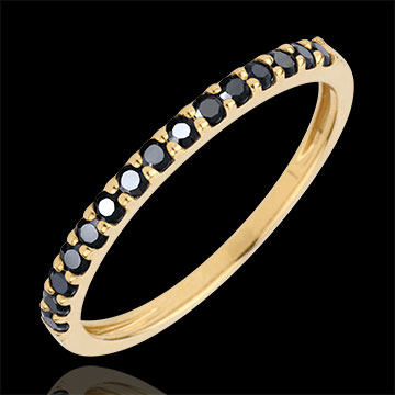 Ring Bird of Paradise - one line - yellow gold and black diamonds