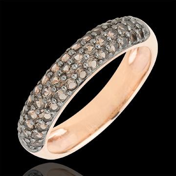 Ring Bird of Paradise - three lines - rose gold and smoky quartz
