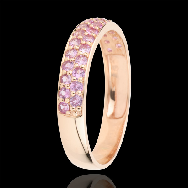 Ring Bird of Paradise - two lines - rose gold and pink sapphire