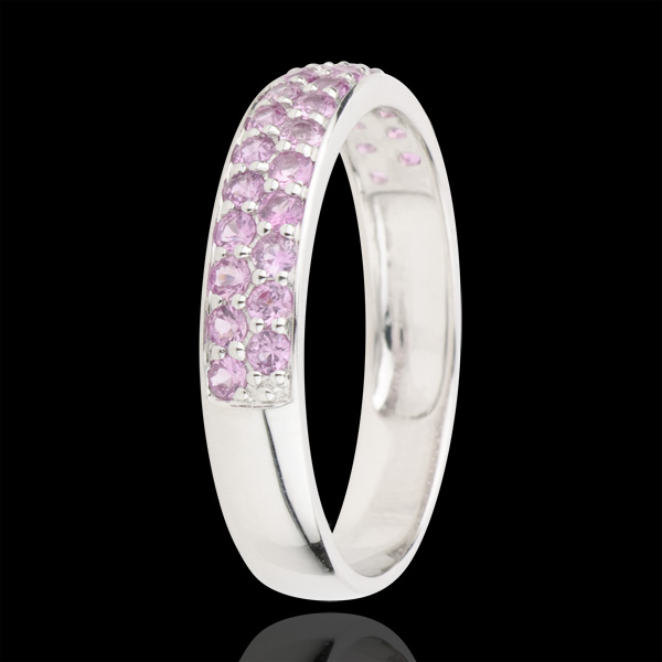 Ring Bird of Paradise - two lines - white gold and pink sapphire